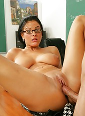 Amazing classroom fucking action with crazy hot and busty tanned milf Marilyn Scott