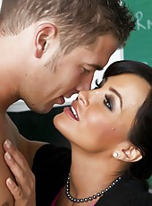 Curious and gorgeous brunette milf Lisa Ann fucks with her student lover