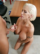 Busty blonde milf Kasey Grant gets her gorgeous pussy pounded in the cabinet