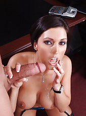 First-class short-haired milf with huge breast Dylan Ryder rides and sucks