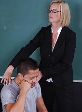 Short-haired strict-looking blonde teacher Camryn Cross got in her tight shaved pussy
