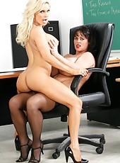 Two horny teachers Diamond Foxxx and Indianna Jaymes fucked by common dick