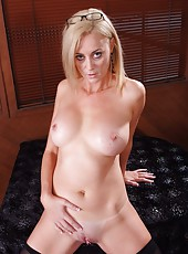 Fascinating blonde Camryn Cross fucks with her lover while her husband is away