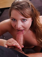 Appetizing sweetie Aurora Snow gets a dick in her shaved pussy before facializing