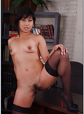 Skinny Asian milf Max Mikita takes cock between her sexy plump butt