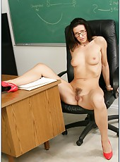 Mature brunette teacher Gina Rome starts with a blowjob for her student