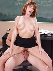 Super horny redhead teacher Trisha Lynne gets her hairy pussy pounded