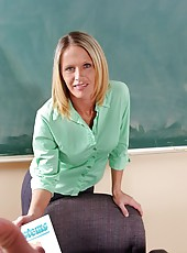 Sexy blonde milf Kelli Kox works and gets pleasure in the school