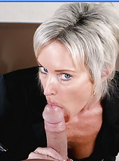 Short-haired, elegant mature blonde Mrs. KC Kelly has amazing fucking ambitions
