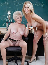 Milf teacher Erica Lauren and mature school director Mrs. Jewell fucked by a student