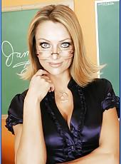 Sexy milf teacher with ravishing blue eyes Brenda James fucked in the classroom