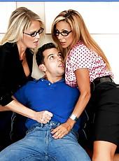 Arresting Mrs. Delia and amazing Mrs. Bridgett Lee surprised by his dick sizes