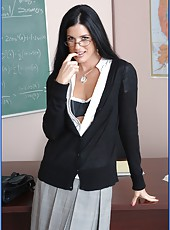 Fascinating brunette teacher India Summer fucked in the asshole