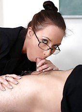 Beautiful teacher Katrina Isis strips and seduces young modest student