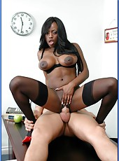 Ebony teacher Mrs. Jada Fire fucked by white man in stockings and red high heels