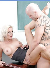 Busty blonde Mrs. TJ Hart came in too sexy stockings at the lessons today