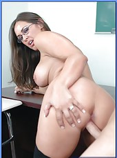 Teacher in hot lingerie and sexy glasses Simone Riley fucked and facialized