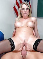 Busty teacher in sexy glasses and hot lingerie Niki Wylde is ready for the action