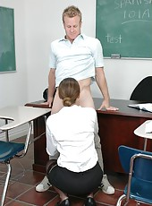 Slender teacher Baby Jayne starts with a blowjob and gets banged on a table