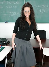 Hardcore curly haired teacher-vamp Anjelica Lauren facialized in sexy lingerie