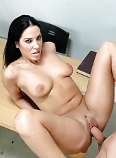 Astounding brunette teacher with huge tits Veronica Rayne fucking in the classroom