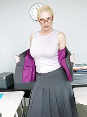 Fair-skinned and blue-eyed blonde teacher Devon Lee has sweet time