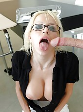 Glamorous and exciting blonde teacher with huge boobs Danielle Derek in the action