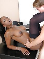 Hot Ebony Mrs. Midori in sexy stockings fucking hard with white cock