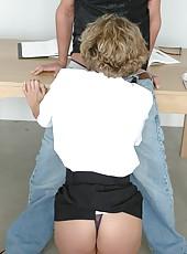 Mature teacher with perfect young ass Mrs. Bianca sucks and fucks long cock