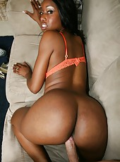 Ebony beauty with big boobs and hot ass Codi Bryant fucks white cock