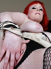 Real action with pale-skinned redhead milf Miss Bunny and her nice body
