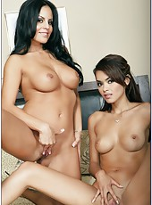 Threesome action with two sexy and splendid brunettes Daisy Marie and Mikayla