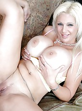 Kayla Cupcakes rubs her huge boobs and sucks Kris Slater