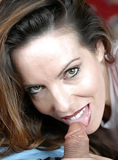 Fabulous brunette milf Paige Rene gives a gentle and passionate blowjob