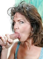 Nasty brunette milf Mrs. Deauxma sucks her neighbors