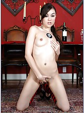 Hardcore lady Sasha Grey gets naked and takes a dick in her sweet mouth