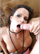 Brunette milf with slender body and shaved pussy Daisy Duxe meets a hot cock