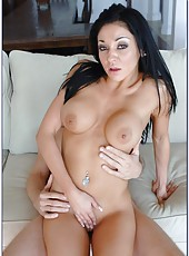 Astounding black haired milf with big tits Amber Rayne fucked in her wet holes