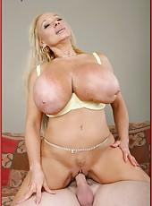 Busty blonde milf Echo Valley gets a nasty sperm on her huge boobs