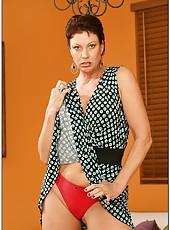 Noteworthy pornstar Vanessa Videl posing in red lingerie and fingering