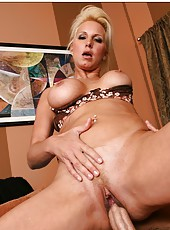 Gifted minx T.J. Hart taking off lingerie and swallowing a yummy pecker