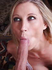 Passionate housewife Devon Lee sucking her friend