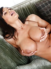 Arrogant coquette Lisa Ann using big tits and trimmed pussy to please her friend