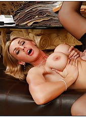 Ambitious bitch Tanya Tate loves playing with big dicks and shaved balls