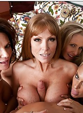 Crazy mature Darla Crane and two sexy babes fucking a lucky fellow