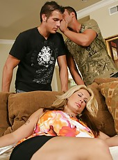 Big-boobed babe Summer Sinn trying to make two fellows fully satisfied
