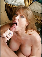 Cheeky mature Darla Crane making titjobs and deep blowjobs as a bonus