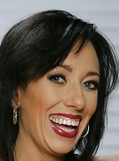 Demonic pornstar Alia Janine posing in black lingerie and jilling sissy