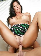 Adorable milf Lezley Zen reaching orgasm only when sucking big cocks