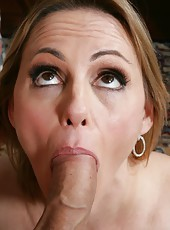 Winsome pornstar Raquel Sieb swallowing her favorite dagger and enjoying cum